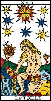 Carte du jeu du tarot divinatoire l'Etoile numéro 17, cette carte reste quand même difficile à interpréter car parfois le monde auquel nous aspirons et très loin de celui dans lequel nous vivons.