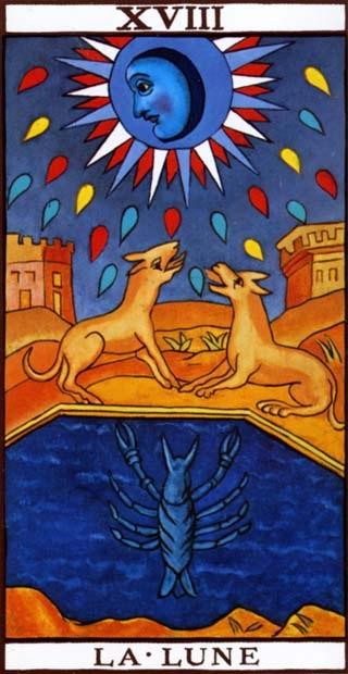 carte du tarot divinatoire la Lune